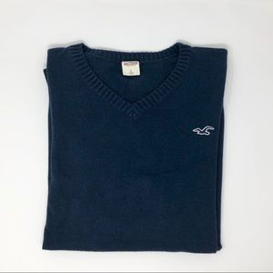 Hollister Soft V-Neck Navy Sweater Size L